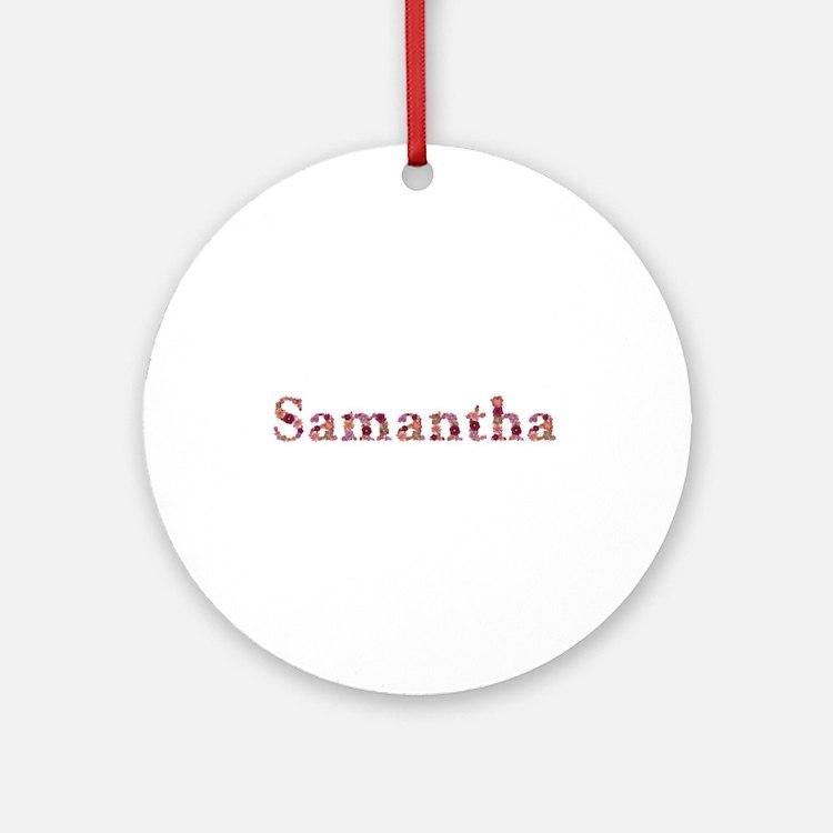 Samantha Pink Flowers Round Ornament