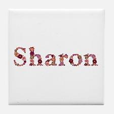 Sharon Pink Flowers Tile Coaster