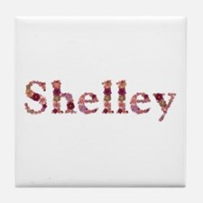 Shelley Pink Flowers Tile Coaster