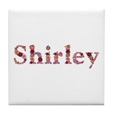 Shirley Pink Flowers Tile Coaster