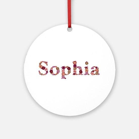 Sophia Pink Flowers Round Ornament