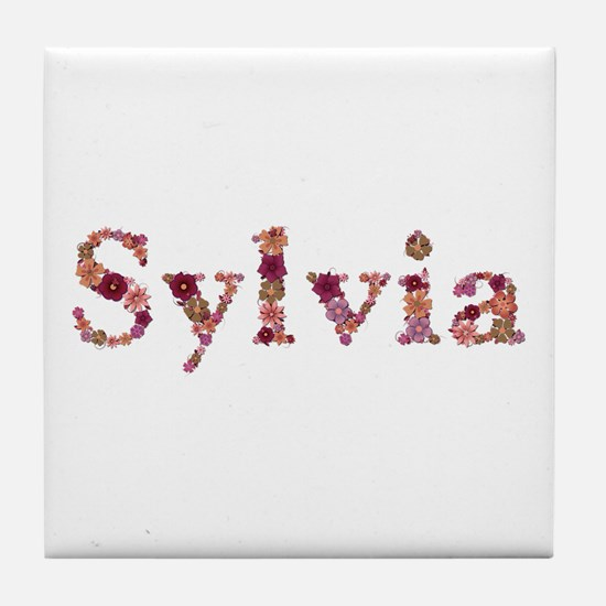 Sylvia Pink Flowers Tile Coaster