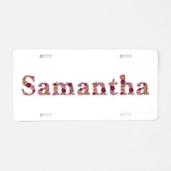 Samantha Pink Flowers Aluminum License Plate