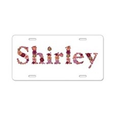 Shirley Pink Flowers Aluminum License Plate