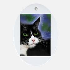 Unique Tuxedo cat Oval Ornament
