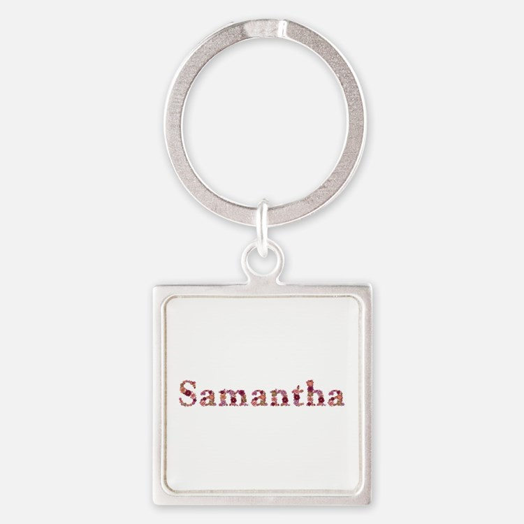 Samantha Pink Flowers Square Keychain