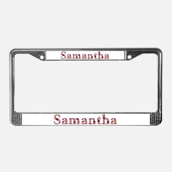 Samantha Pink Flowers License Plate Frame