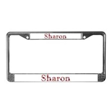 Sharon Pink Flowers License Plate Frame