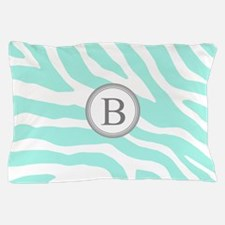 Aqua Grey Zebra Monogram Pillow Case