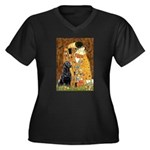 The Kiss & Black Lab Women's Plus Size V-Neck Dark