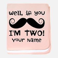 2nd Birthday Mustache baby blanket