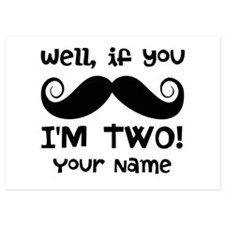 2nd Birthday Mustache Invitations
