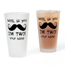 2nd Birthday Mustache Drinking Glass