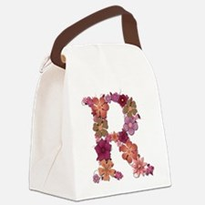 R Pink Flowers Canvas Lunch Bag