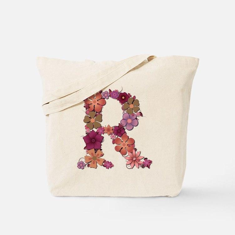 R Pink Flowers Tote Bag