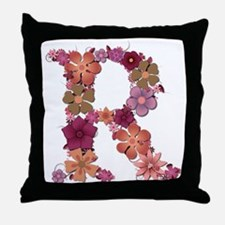 R Pink Flowers Throw Pillow