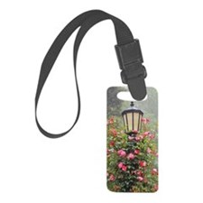 Lamppost with pink climbing rose Luggage Tag