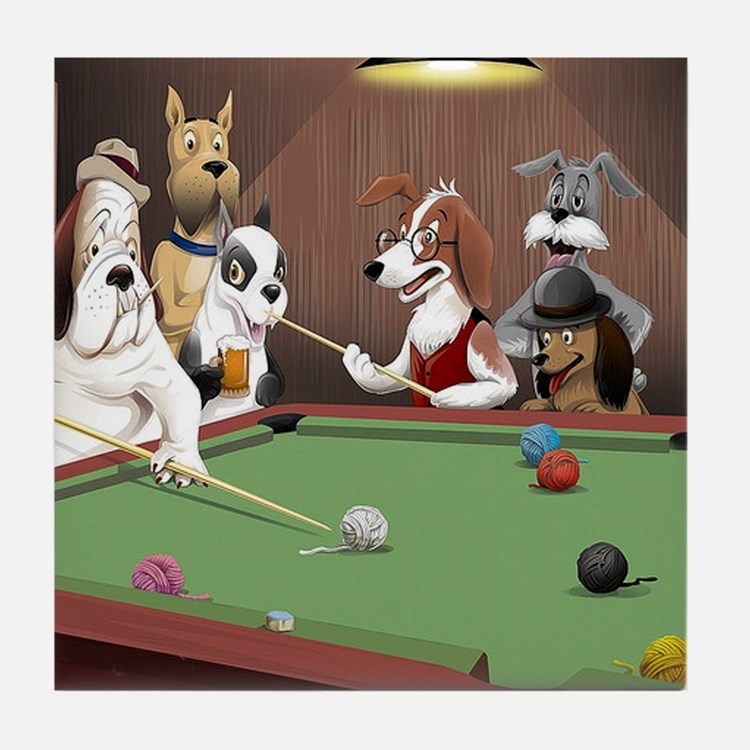 Cartoon Dogs Playing Pool Tile Coaster