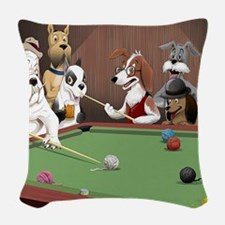 Cartoon Dogs Playing Pool Woven Throw Pillow