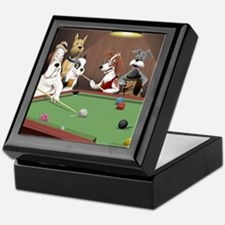 Cartoon Dogs Playing Pool Keepsake Box