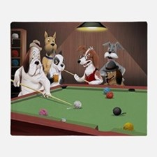 Cartoon Dogs Playing Pool Throw Blanket
