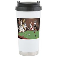 Cartoon Dogs Playing Po Travel Mug