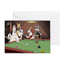 Cartoon Dogs Playing Pool Greeting Card