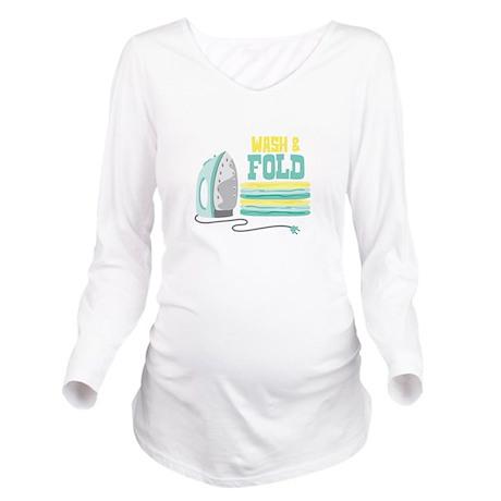 Wash and Fold Long Sleeve Maternity T-Shirt