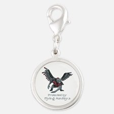 Protected by Flying Monkeys Silver Round Charm