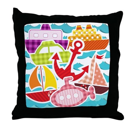Patchwork Things in the Water Throw Pillow