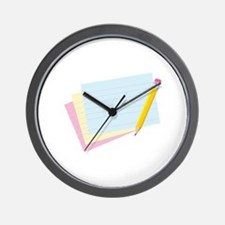 Pencil Note Cards Wall Clock