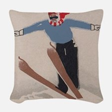 Skier, Ski Jump, Vintage Poster Woven Throw Pillow