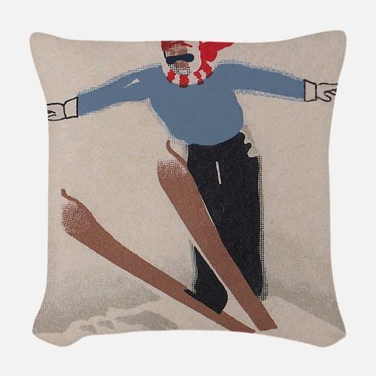 Skier, Ski Jump, Vintage Poster Woven Throw Pillow