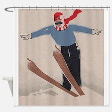 Skier, Ski Jump, Vintage Poster Shower Curtain