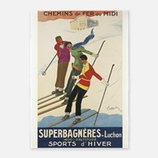 Skiers, Cappiello, Vintage Poster 5'X7'area Rug