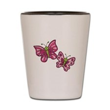 Pink Butterflies Shot Glass