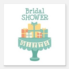 "Bridal SHOWER GIFTS Square Car Magnet 3"" x 3"""