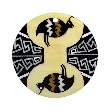 MIMBRES QUAILS BOWL DESIGN Ornament (Round)