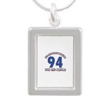 95 year old birthday designs Silver Portrait Neckl
