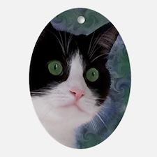 Cute Tuxedo cat Oval Ornament