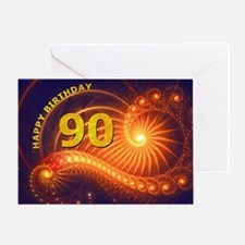 90th Birthday card, swirling lights Greeting Cards