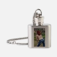 Topless Woman Outdoors Flask Necklace