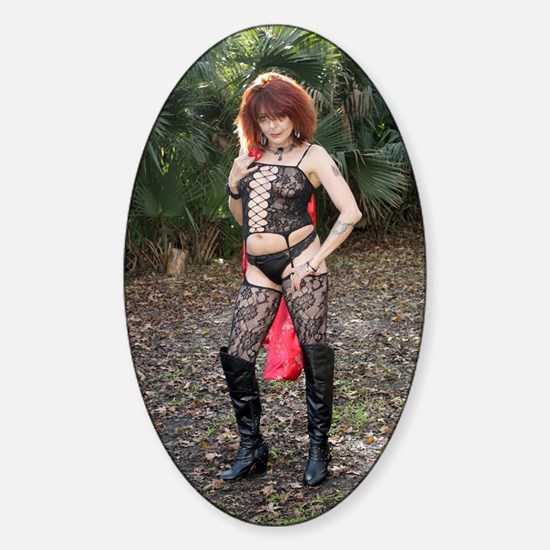 Sexy Redhead Wearing Lingerie Outdo Sticker (Oval)