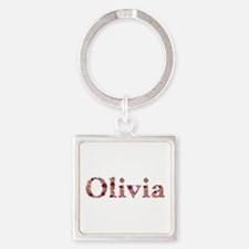 Olivia Pink Flowers Square Keychain