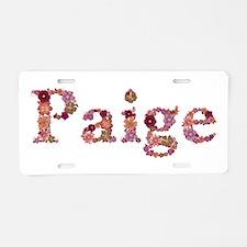 Paige Pink Flowers Aluminum License Plate