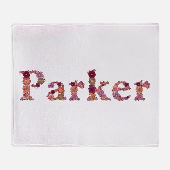 Parker Pink Flowers Throw Blanket