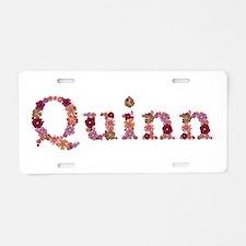 Quinn Pink Flowers Aluminum License Plate