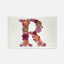 R Pink Flowers Rectangle Magnet