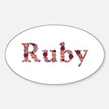 Ruby Pink Flowers Oval Decal