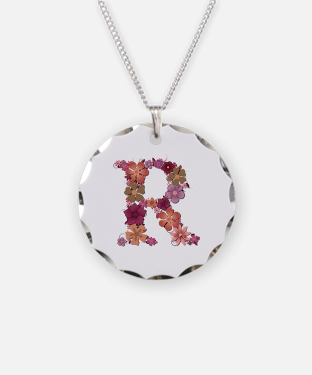 R Pink Flowers Necklace